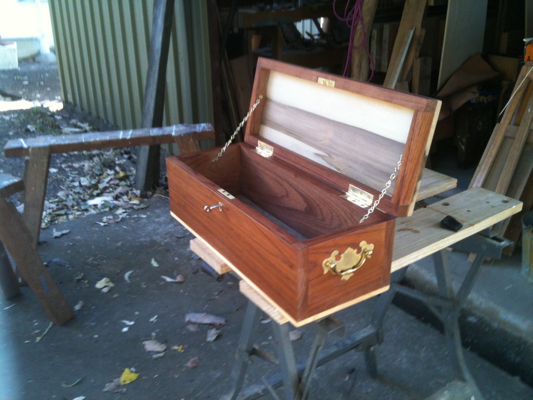 Small treasure chest for Taiga (case: Queensland red cedar from Cooroy, lid: Tasmanian sassafras, base Huon pine, pigskin lining for base, box lock from England)